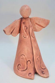 Pottery angel by FaithsEarthArt Ceramics Projects, Clay Projects, Clay Crafts, Slab Pottery, Ceramic Pottery, Pottery Art, Pottery Angels, Clay Angel, Kids Clay