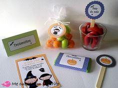 MCPajarito, invitación, tarjeta mesa, toopers, etiquetas para chuches y chocolatinas para la fiesta de Halloween
