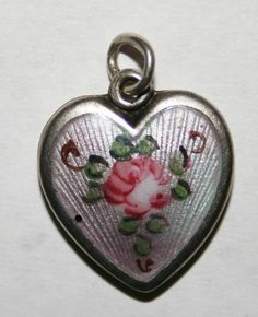 VINTAGE STERLING SILVER PUFFY HEART CHARM -  Walter Lampl Pink Guilloche & Rose