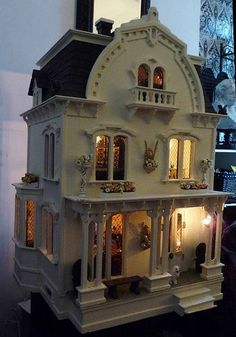exterior When I was a little girl, I wanted a doll house. We were too poor. It's perfect.When I was a little girl, I wanted a doll house. We were too poor. It's perfect. Miniature Furniture, Doll Furniture, Dollhouse Furniture, Victorian Dolls, Antique Dolls, Miniature Houses, Miniature Dolls, Fairy Houses, Play Houses
