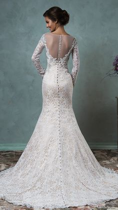 amelia sposa 2016 wedding dresses sheer bateau neckline long sleeves embroidered beautiful champagne trumpet mermaid wedding dress tiffany back view