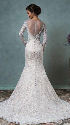 amelia sposa 2016 wedding dresses sheer bateau neckline long sleeves embroidered beautiful champagne trumpet mermaid wedding dress tiffany back view