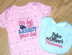 Police Officer Baby Girl Set -  My dad can ARREST your dad heart onesie / Police Officer's Princess light blue Bib
