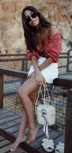#summer #outfits  Red Off The Shoulder Top + White Denim Short