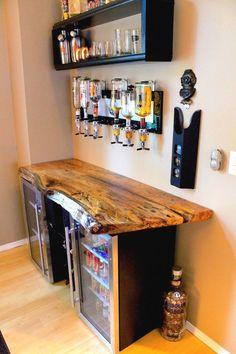 Garage House, Outdoor Kitchen Bars, Home Bar Designs, Game Room Decor, Game Room Bar, Live Edge Wood, Single Doors, Bar Furniture, Man Cave Furniture