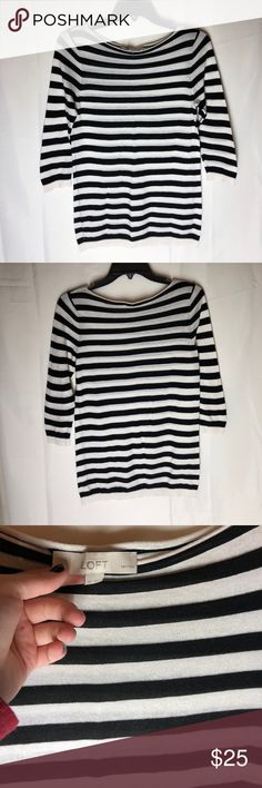 Loft shirt Black and white striped shirt. Very light. 100% cotton. Sleeves are mid I'd say at the elbows. LOFT Tops Tees - Long Sleeve