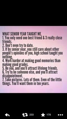 Help me with my senior year in high school?!?