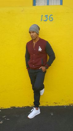 Varsity Jacket + Navy Chinos + oversized beanie