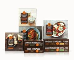FOUR TINES Identity and packaging for a line of gourmet frozen vegetable entrées. Editorial-style photography accompanied by a structured, modern design allows these savory dishes to take center stage.