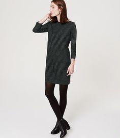 Image of Striped Shoulder Zip Dress