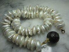 Perlenketten - Barockperle Kette Collier Achat Gold Tahiti Ring - ein Designerstück von TOMKJustbe bei DaWanda