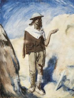 A Man with a Cigarette ~ William Orpen, 1917  ~ A gaunt, shell-shocked and wounded British soldier stands in a trench, smoking a cigarette. He has a jacket and shirt draped over his shoulders covering his right arm, a tin helmet, and a bandage on his leg.
