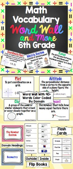 6th Grade Common Core Math Vocabulary Word Wall - 115+ illustrated vocabulary cards, aligned to 6th grade common core standards. This pack also includes flip books and flash cards. $