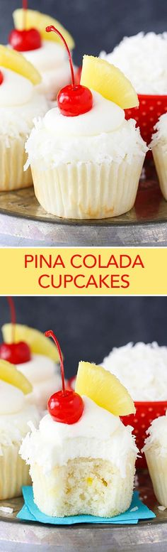 Pina Colada Cupcakes - moist, fluffy pineapple cupcakes with coconut frosting! So tasty and perfect for summer! Pina Colada Cupcakes - moist, fluffy pineapple cupcakes with coconut frosting! So tasty and perfect for summer! Pina Colada Cupcakes, Pineapple Cupcakes, Strawberry Cupcakes, Pineapple Rum, Pineapple Recipes, No Bake Desserts, Just Desserts, Delicious Desserts, Dessert Recipes