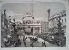 1863 PRINT THE ROYAL PROCESSION AT THE GRAND ARCH,LONDON BRIDGE