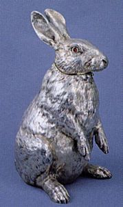 A silver pitcher shaped as a rabbit  Fabergé,  Moscow 1894,