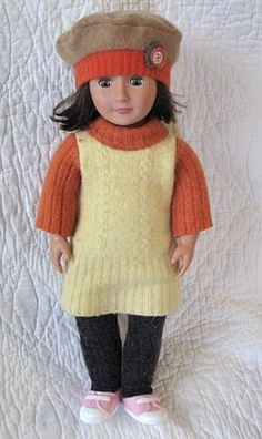 "Recycled wool outfit for an American Girl 18"" Doll."