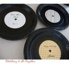 Set of 8 Party Plates  Record lookalike 7 by stichinitalltogether, $6.50