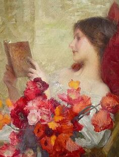 Samuel Melton Fisher (British, 1859–1939) - Young woman reading (detail)
