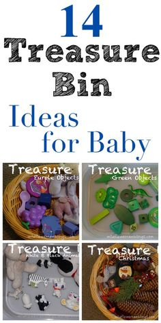14 Treasure Bins for Baby - Wildflower Ramblings - different colours, themes, materials, and many other great ideas to try when compiling a treasure box
