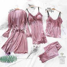 006f65a2f9 2019 Gold Velvet 4 Pieces Warm Winter Pajamas Sets Women Sexy Lace Robe Pajamas  Sleepwear Kit