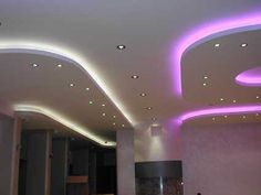 ceiling design with white and pink color lighting