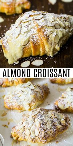 These buttery and flaky almond croissants are made from scratch, including the almond paste inside each pastry. The BEST almond croissant recipe! Breakfast Pastries, Bread And Pastries, Best Breakfast, Brunch Recipes, Sweet Recipes, Dessert Recipes, Just Desserts, Delicious Desserts, Yummy Food