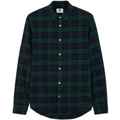NN.07 Dexter checked flannel shirt ($105) ❤ liked on Polyvore featuring men's fashion, men's clothing, men's shirts, men's casual shirts, mens green shirt, old navy mens shirts, mens checked shirts, mens green flannel shirt and mens navy blue shirt