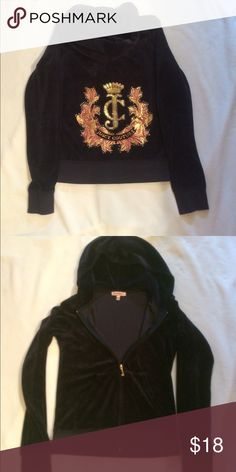 Juicy Couture velour sweat jacket Black velour juicy couture zip up with hood in great condition size small Juicy Couture Tops Sweatshirts & Hoodies