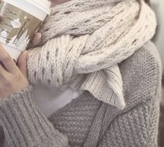 Cozy layered knits, and a Starbuck's Eggnog latte...perfect
