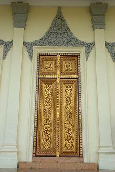 A decorated door. Royal Palace, Cambodia