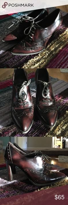 Marc Fisher booties Maroon and black, loafer style heeled bootie. Probably my favorite heels I've ever owned. But time to downsize! No real flaws. Wear on souls. No trades, price firm Marc Fisher Shoes Ankle Boots & Booties
