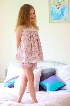 Adelaide Pajama Set — Little Lizard King Girls Night Dress, Night Dress For Women, Little Girl Dresses, Night Gown, Girls Dresses, Night Suit, Kids Nightwear, Girls Sleepwear, Nightgown Pattern