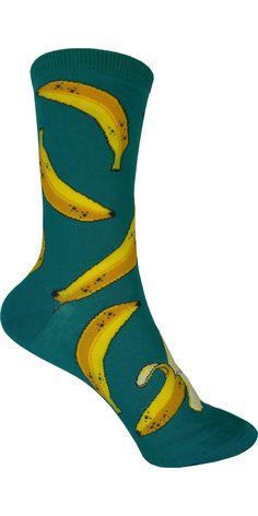 Bananas Crew Socks in Emerald