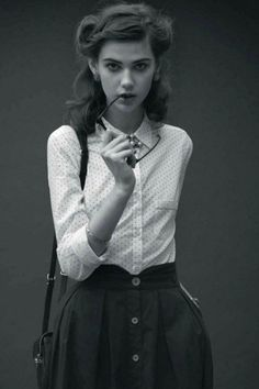 40s style hair, shirt, photography, retro, fashion, style, skirt, satchel, glasses, outfit