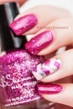 Glittery Pink Mani with Fishtail Accent Nail Cute Nail Art, Beautiful Nail Art, Cute Nails, Pretty Nails, Fancy Nails, Fabulous Nails, Gorgeous Nails, Amazing Nails, Sparkle Nails