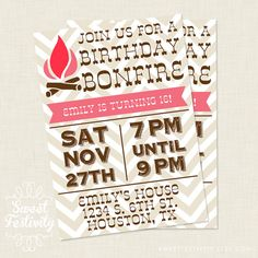 Bonfire Printable Party Invitation by sweetfestivity on Etsy, $12.00
