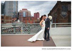 Claire+Spence's Winter Holiday Wedding at aVenue in downtown Nashville | Shelby Street Pedestrian Bridge | ©2013 Glessner Photography | Makeup by @Kaley Schwab | Dress by Augusta Jones