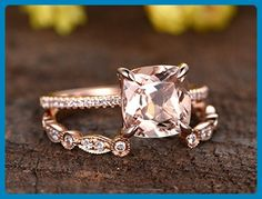 8mm Cushion Cut Natural Pink Morganite Stone Claws Diamond Thin Band Solid 14k Rose Gold Rings Set,Half Eternity Art Deco Marquise Milgrain Diamond Stackable Matching Ring Band Jewelry Set Size 4-9 - Wedding favors (*Amazon Partner-Link)