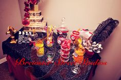 Candy buffet for My daughter's 9th Bday - old hollywood theme