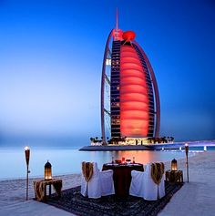 beach dinner on a Dubai beach #dubai #beach #travel #popular #places