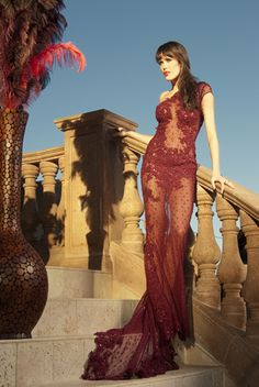 Yochi Ben - Catalog - Long burgundy lace    Photo By: Vikram Pathak