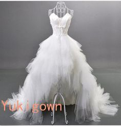 Feather lace up tulle hi low noble wedding dress by Yukigown, $398.00