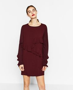 DRESS WITH FRILLED SLEEVE-DRESSES-WOMAN | ZARA United States