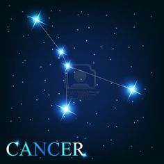 Constellation of cancer with main stars forming a symbol