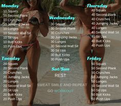 Do you think that is time for you to get rid of those excess pounds, gain muscle or have a tone body? If you are, the following workout plan is great for beginners men and women.