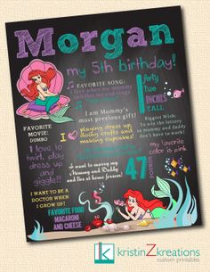 Custom Poster/Chalkboard Design (The Little Mermaid)- digital file YOU PICK SIZE on Etsy, $25.00
