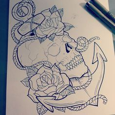 Skull, anchor and roses tattoo sketch