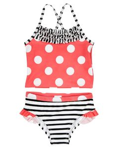 Bright dots and stripes make our two-piece swimsuit extra stylish. Comfy design is finished with cute ruffles at the neck and leg openings.