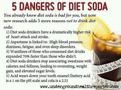 """diet soda is a carbonated drink filled with fake sugars. diet"""" soda means nothing. each soda is just as bad for you"""